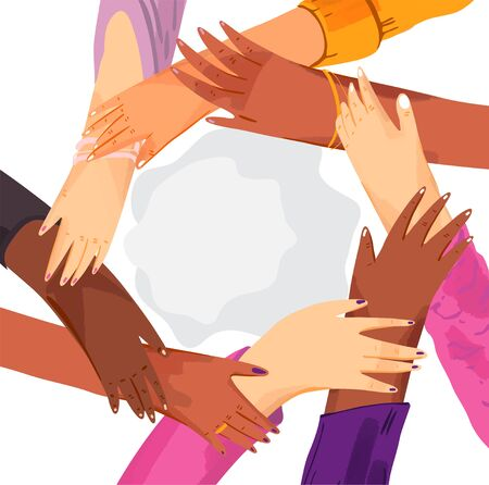 Hands of diverse group of women putting together in circle. Concept of sisterhood, girl power, feminist community or movement, friendship, support and cooperation, isolated on white Ilustração