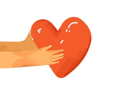 Vector flat illustration human hands sharing love, support, appreciation to each other. Hands giving heart as a sign of connection and unity. Love concept isolated.