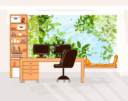 Home Office Vector Flat Illustration of Cozy work desk with computer and monitor, office chair, shelfs with books in front of Outdoor green trees and sun light with rest zone.
