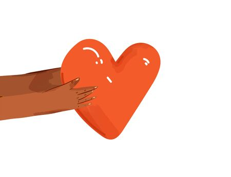 Vector flat illustration of diverse people sharing love, support, appreciation to each other. Hands giving heart as a sign of connection and unity. Love concept isolated