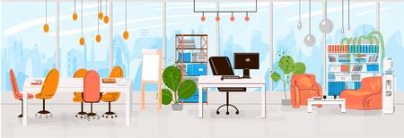 Vector Flat Collection of Creative Workplace with Modern Open Space and Empty Office Interior - Business and Contemporary Co-Working Illustraton. flat horizontal composition. Ilustração