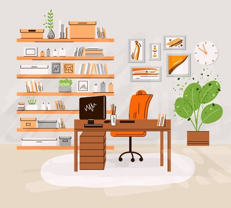 Vector flat illustration of home office work place interrior - working desk with monitor, computer, shelfs with books and accessories, plants. Cozy home work area, home office zone