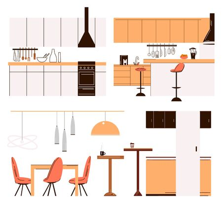 Vector flat collection of home kitchen modern furniture - kitchen tables, bar chairs, dinner tables, cooker and cook accessories. Modern minimalist kitchen set isolated on white.