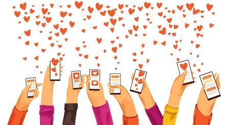 Human hands rised up with smartphone dating app, searching for love and romantic event or date, sending love and like signs. Dating app, online chat and conversation, find love concept