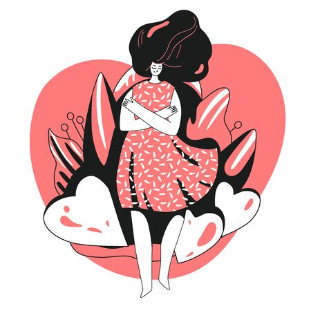 Vector Love yourself and take care of yourself concept. Girl, hugging herself with big love heart. Girl Healthcare Skincare illustration about Take time for your self. Ilustração