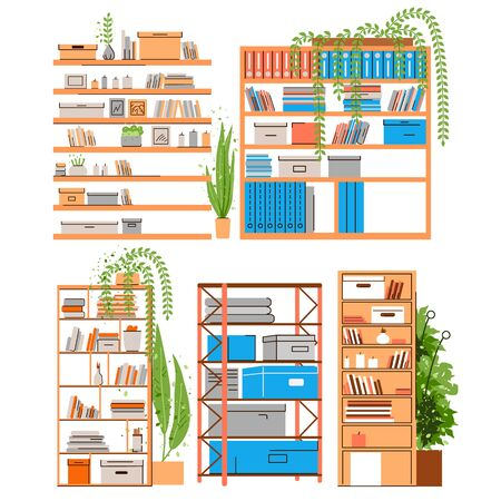 House and Office bookshelf, bookcase, bookrack or stand with boooks, accessories, office paper and folder with greenery, plants in pots. Home and Office shelf set, vector flat illustration Ilustração