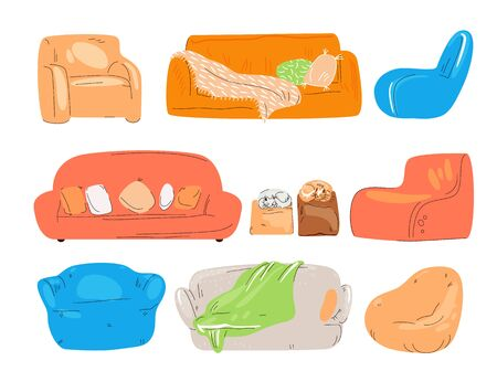 Vector flat set of cozy couch, divan, sofa, chairs, padded stool and armchairs with cat, pillows and blanket. Cozy home and lounge zone for office, Colored collection isolated on white. Ilustração