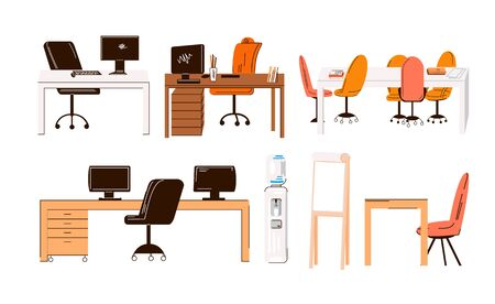 Vector flat collection of office and home work places, work stations - set of Furniture - desk with monitor, table, chair, office water, manager seat and conference table for team isolated on white