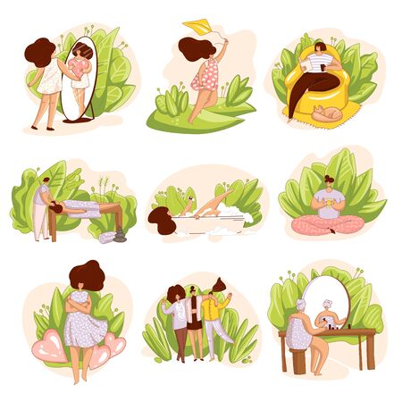 Vector set of girls, woman taking care of yourself. Spa salon, massage, reading a book alone, happyness and love yourself illustration, meditation and bathing. Self love concept