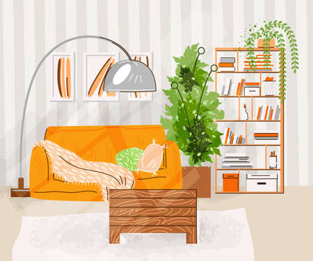 Interior of the living room. Vector flat illustration with Design of a cozy room with sofa, table, shelfs with books, plants and decor accessories. Cozy living room vector illustration