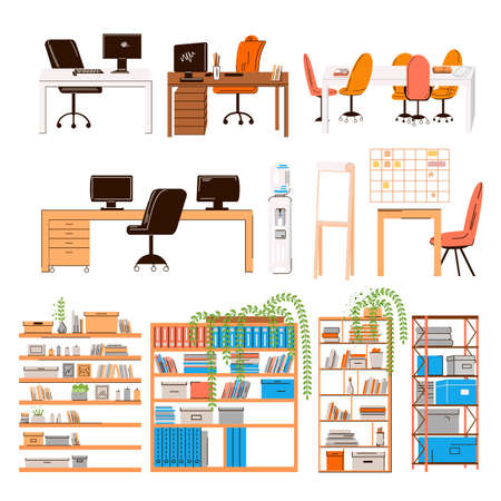 Vector flat collection of office and home work places, work stations - set of Furniture for team - desk with monitor, table, chair, office water, manager seat, conference table, shelfs with plants