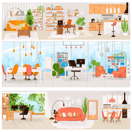 Vector flat set of home and office interior - Living room interior, kitchen, office work place, Comfortable sofa, TV, window, chair and house plants. Vector flat furniture collection