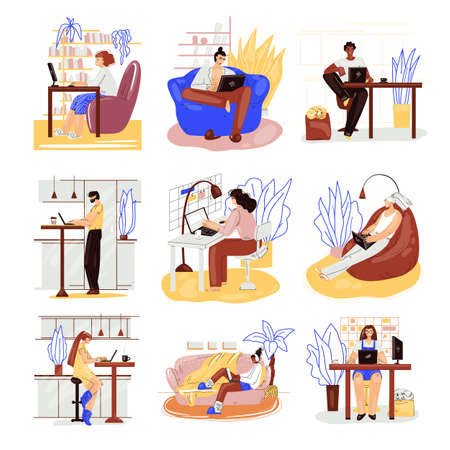 Freelance people work in comfortable cozy place set vector flat illustration. Freelancer multiracial character working from home at relaxed pace. Man and woman self employed concept