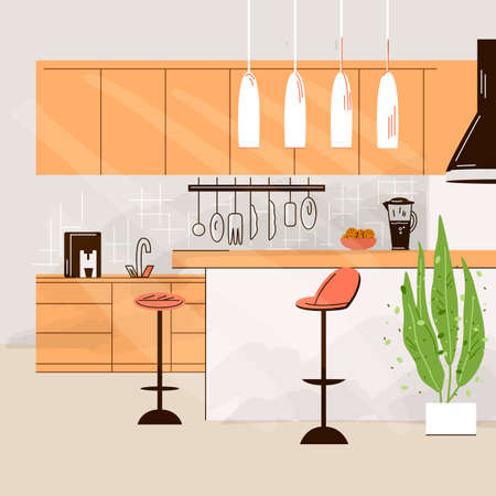 Vector flat illustration of Modern Kitchen Interior Empty No People House Room with kitchen furniture, table, chairs and cooking table. Ilustração