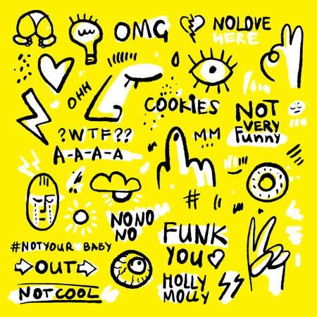 Positive and funny doodle sticker set in black, yellow and white colors. Hand drawn stickers with donut, eye, hearts, lettering and human face. Ink hand-drawned stickers for clothes and merch