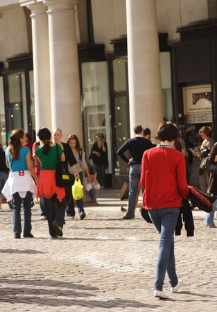 London, England - Shoppers at historic Covent Garden