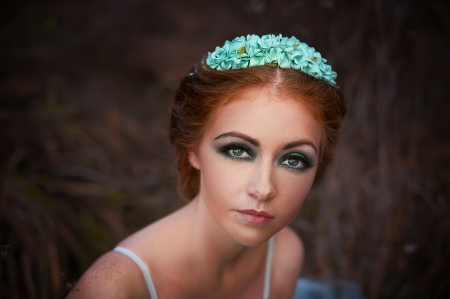 red haired girl: Red-haired girl with freckles of the bride dress