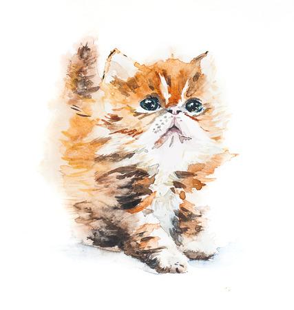 Watercolor ginger kitten. Greeting card.  photo