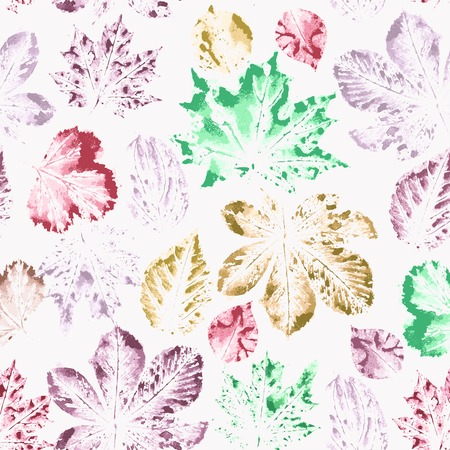 herbarium: Seamless pattern with watercolor colorful leaves. Vector illustration.