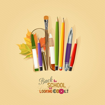 pocket book: Vector Collection of colorful School Supplies in vintage style.