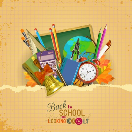 Vector Collection of colorful School Supplies in vintage style.