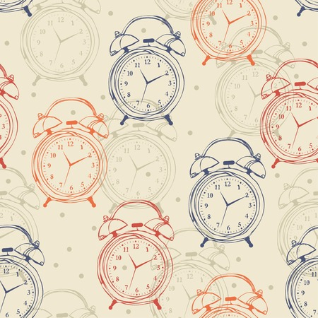 Seamless pattern with alarm clocks in vintage style. Vector