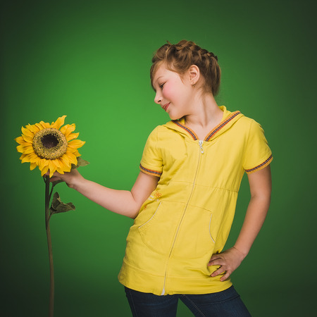 personal growth: Girl with sunflower