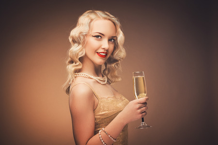 vintage portrait: Vintage portrait of a girl with champagne