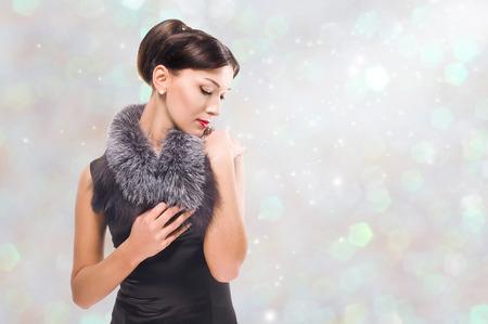 beautiful brunette in fashion style