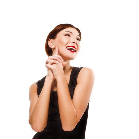 Beautiful girl in black silk dress photo