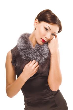 Portrait of gorgeous brunette in a fur collar photo