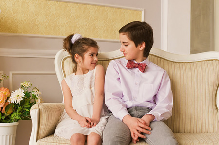 8 year old girl: Portrait of the brother and its little sister