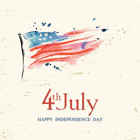 4 juli Amerikaanse onafhankelijkheidsdag wenskaart met vlag