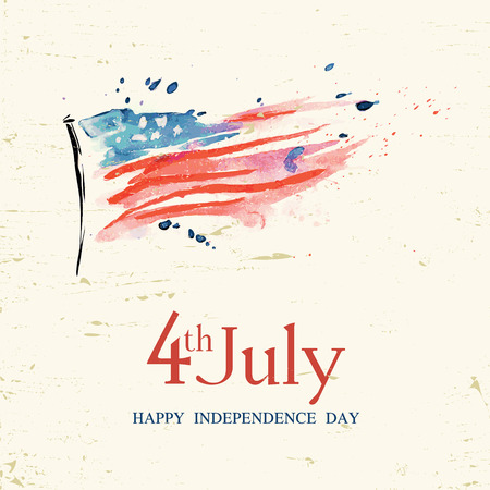 4th of july American independence day greeting card with flag Imagens - 34994574