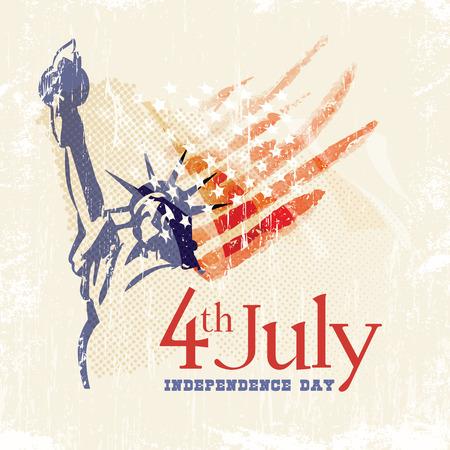 Tarjeta de felicitación con la bandera de Estados Unidos y de la estatua de la Libertad. 4 de julio. Día de la Independencia de Estados Unidos. Foto de archivo - 34994576