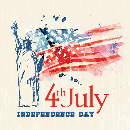 4 ° di biglietto di auguri giorno indipendenza luglio americana con la bandierina Archivio Fotografico - 34994496