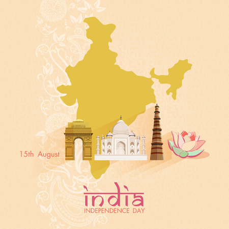15th of August, Indian Independence Day celebrations card with ashoka wheel and national flag colors on beige background.