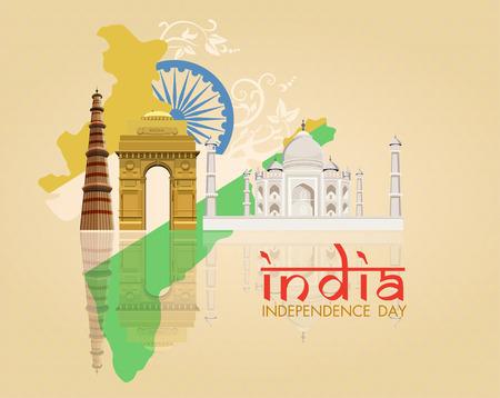 agosto: 15 agosto, indiana carta Independence Day celebrazioni con la ruota di Ashoka e colori della bandiera nazionale su sfondo beige.