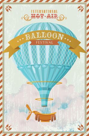 空の図は、ビンテージ熱気球  イラスト・ベクター素材