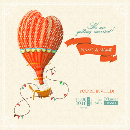 hot day: Wedding card or invitation with hot air balloon and floral background Illustration