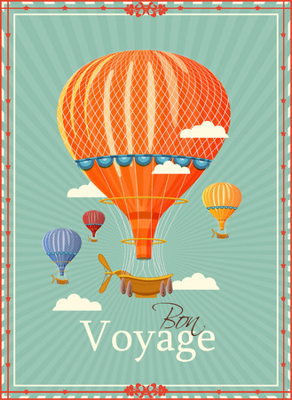 adventure story: Vintage hot air balloon in the sky illustration