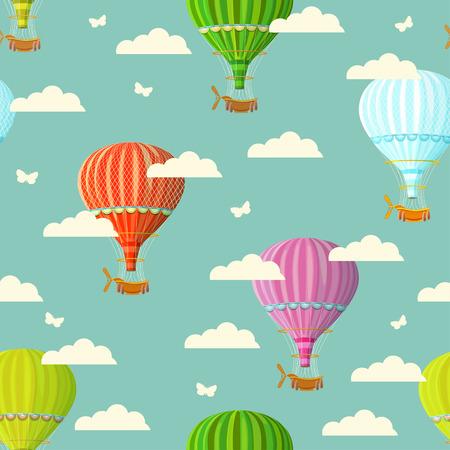 Naadloze: Retro naadloze reizen patroon van ballonnen