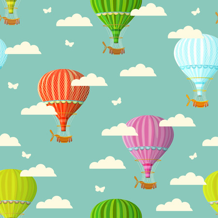 hot air balloon: Retro seamless travel pattern of balloons