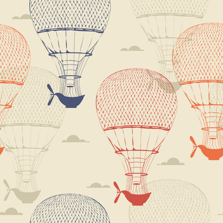 hands in the air: Retro seamless travel pattern of balloons