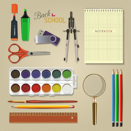 Vector Collection of colorful School Supplies. Set of school supplies, lying on a table. The view from the top.