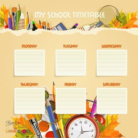 cronograma: Horario Escolar. Programación. Volver a la escuela y de aspecto atractivo. Cartel con suministros de alarma, cuaderno, pluma, regla, escuela.