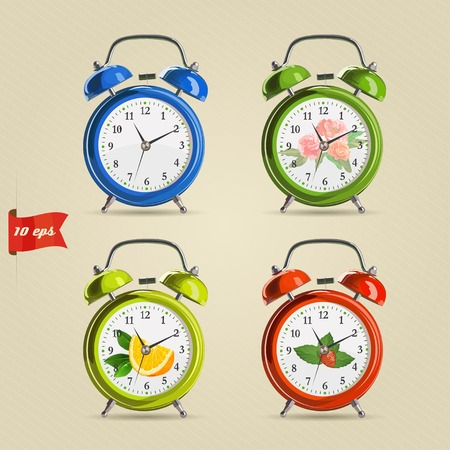 alarmclock: Set vector illustration of realistic colorful alarm clock. Blue, yellow, green, red clock with vintage colorful decorations.