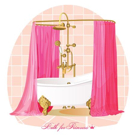 shower curtain: Luxury bathroom illustration. Illustration