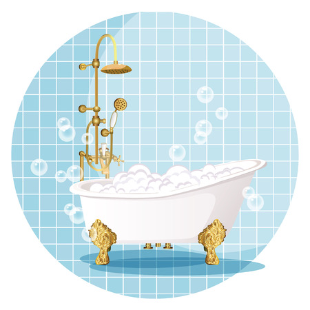 bubble bath: Luxury bathroom illustration. Illustration