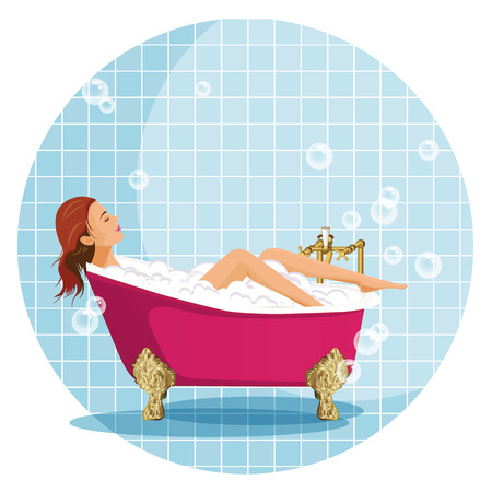cartoon bathing: Girl in Luxury bathroom illustration.